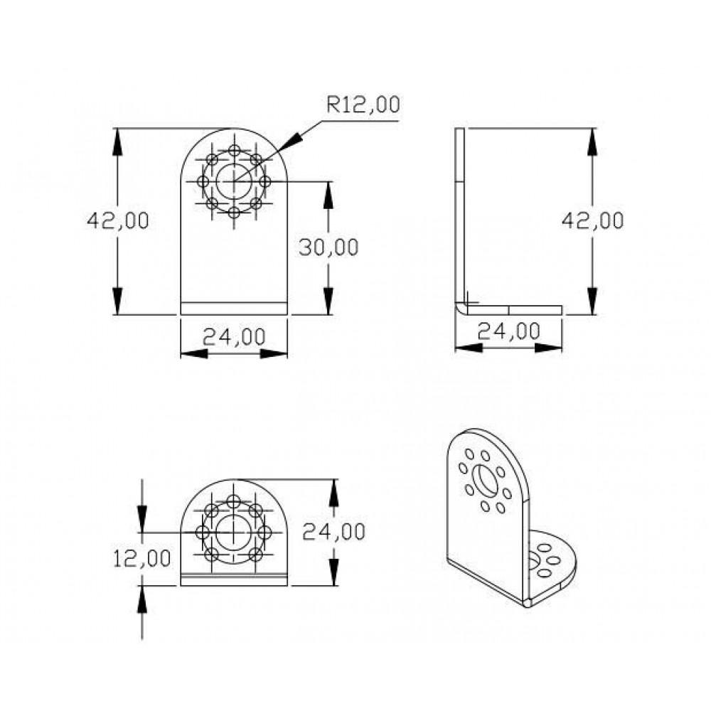 Серво кронштейн Aluminum L Type Connector Bracket