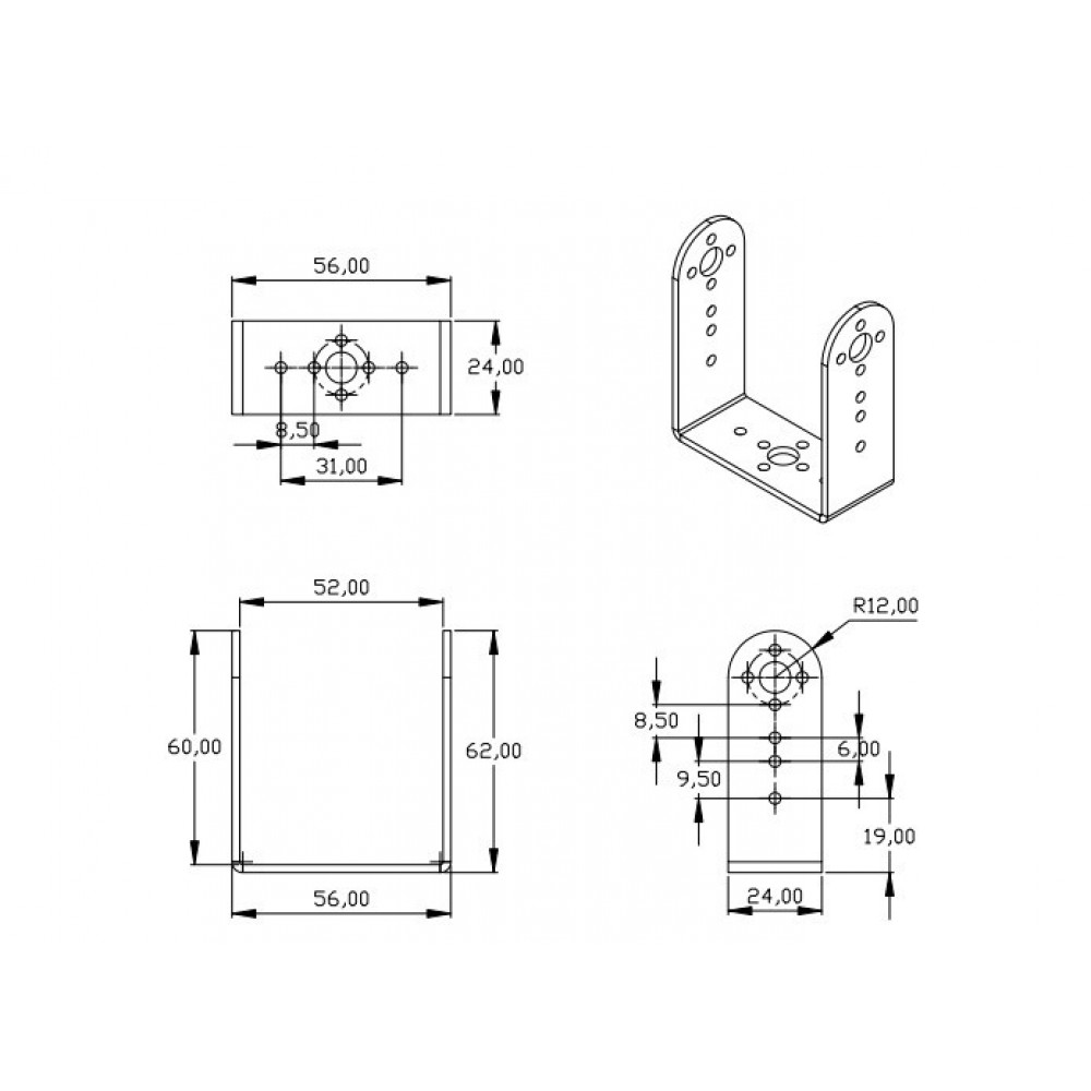 Серво кронштейн Aluminum Length U Type Servo Bracket