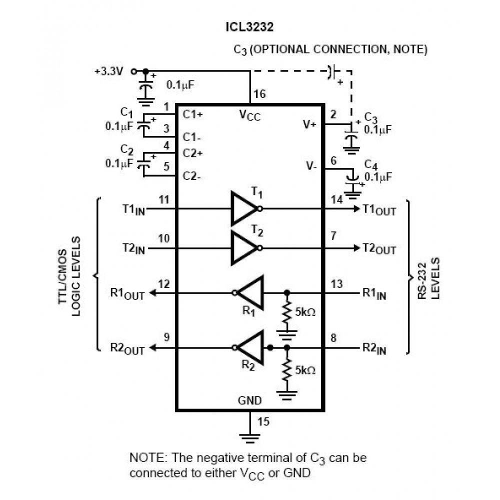 RS232 - преобразователь сигнала SMD - MAX3232