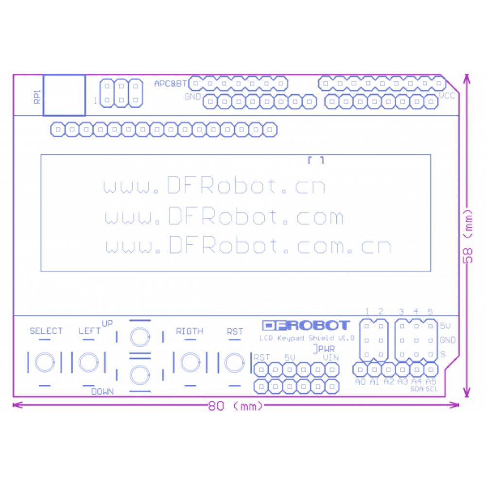 LCD keypad shield для Arduino (без LCD дисплея!)