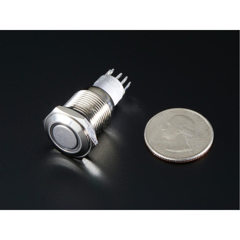 Переключатель металлический с белым индикатором - 16 мм