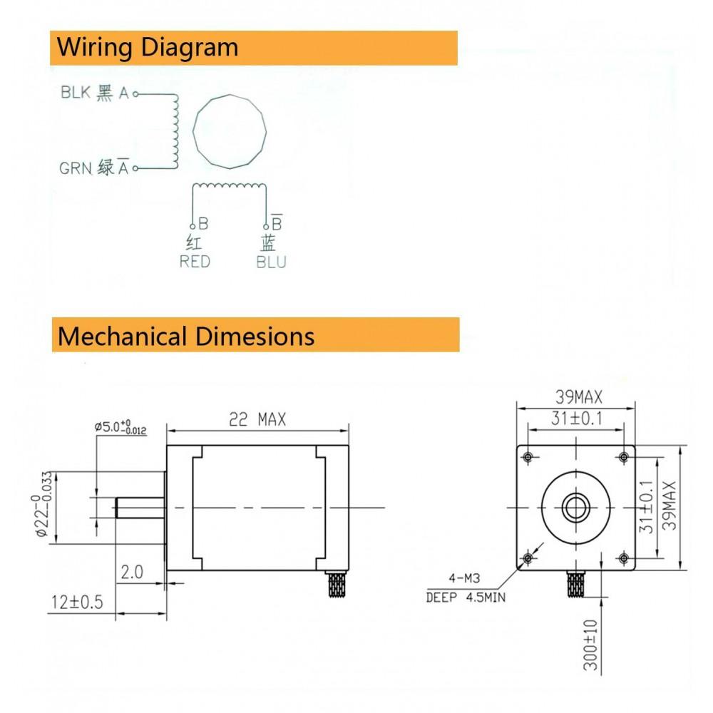 Шаговый двигатель 39BYGHM1405 0.9° 20MM Arduino