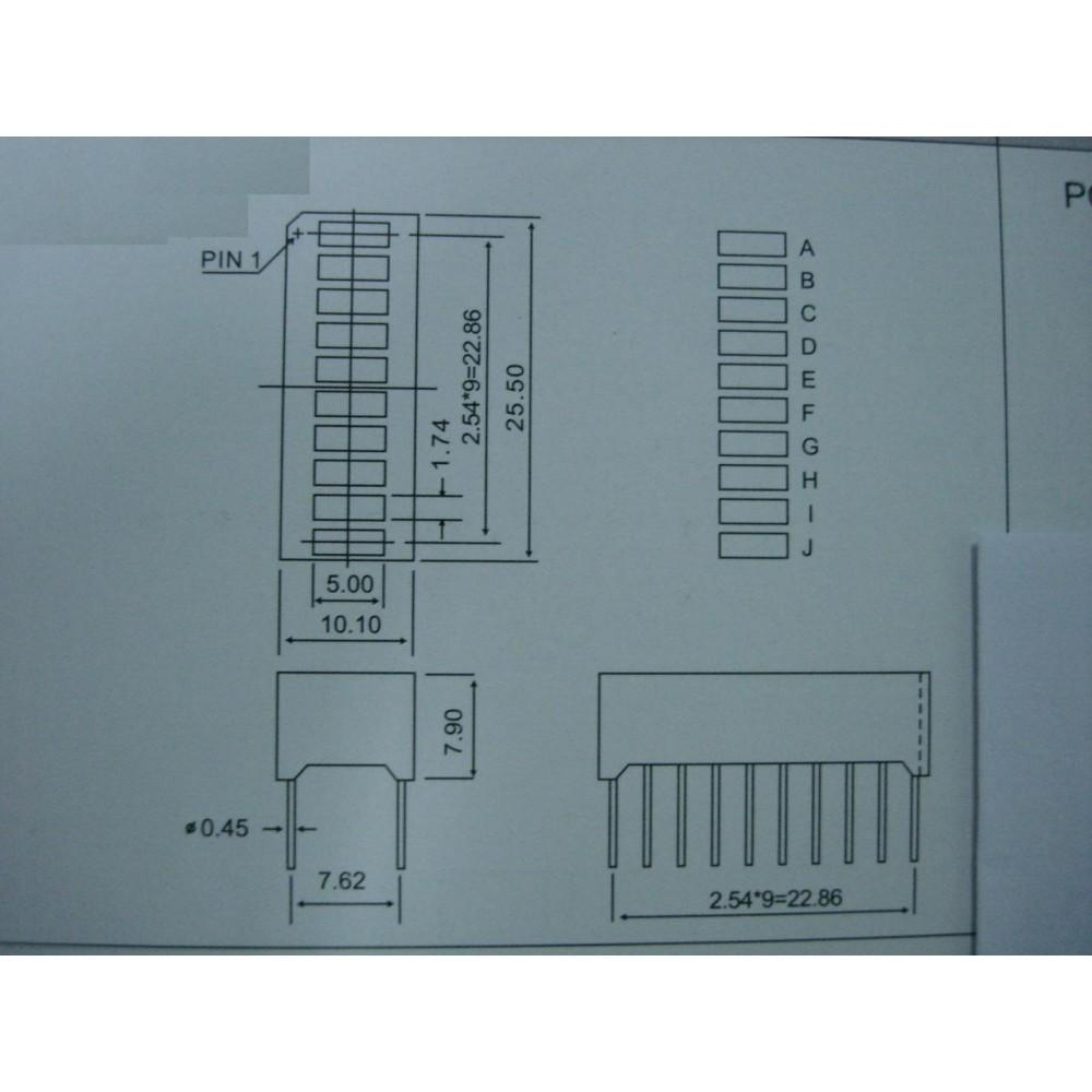 Синий 10segment LED прогресс бар для Arduino